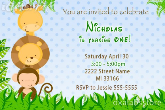 Jungle Themed Baby Shower Invitations was awesome invitations design